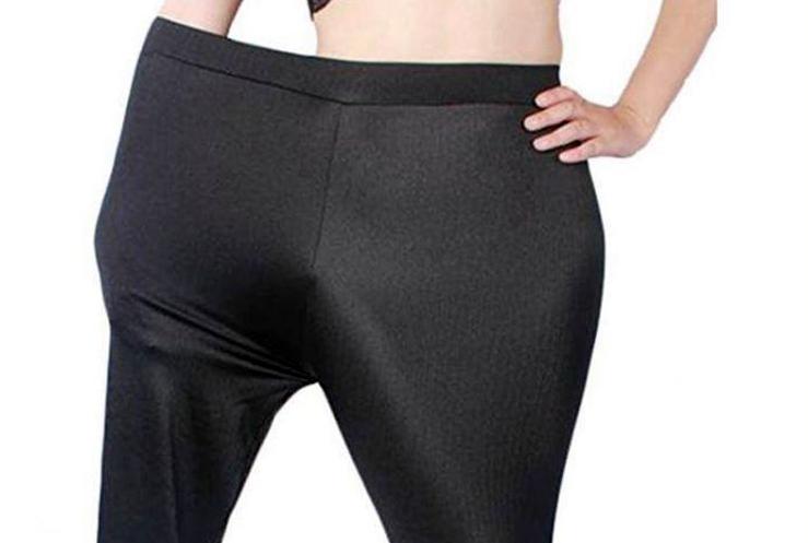 Smal modell i plussize-tights gick inte hem hos kunderna