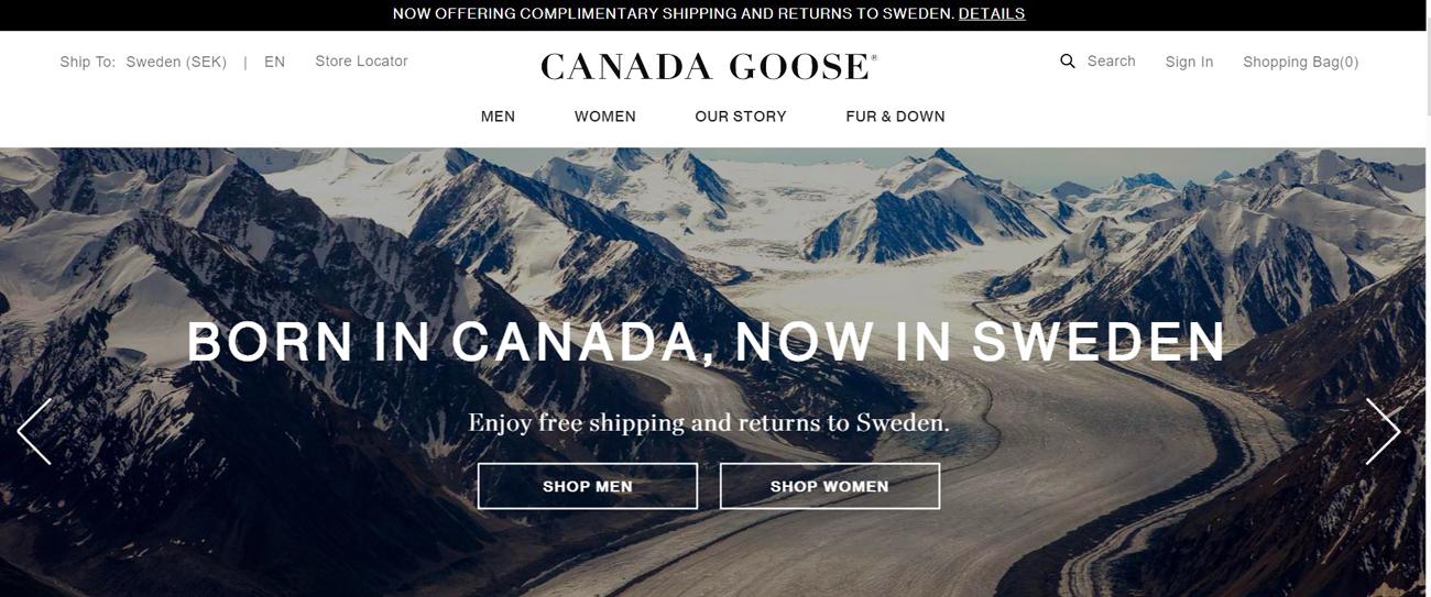 Canada Goose har öppnat sin svenska nätbutik