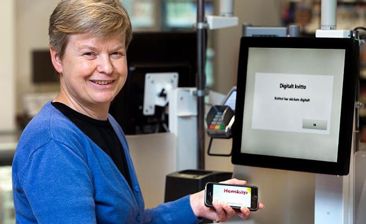 Axfood börjar med digitala kvitton i den fysiska kassan