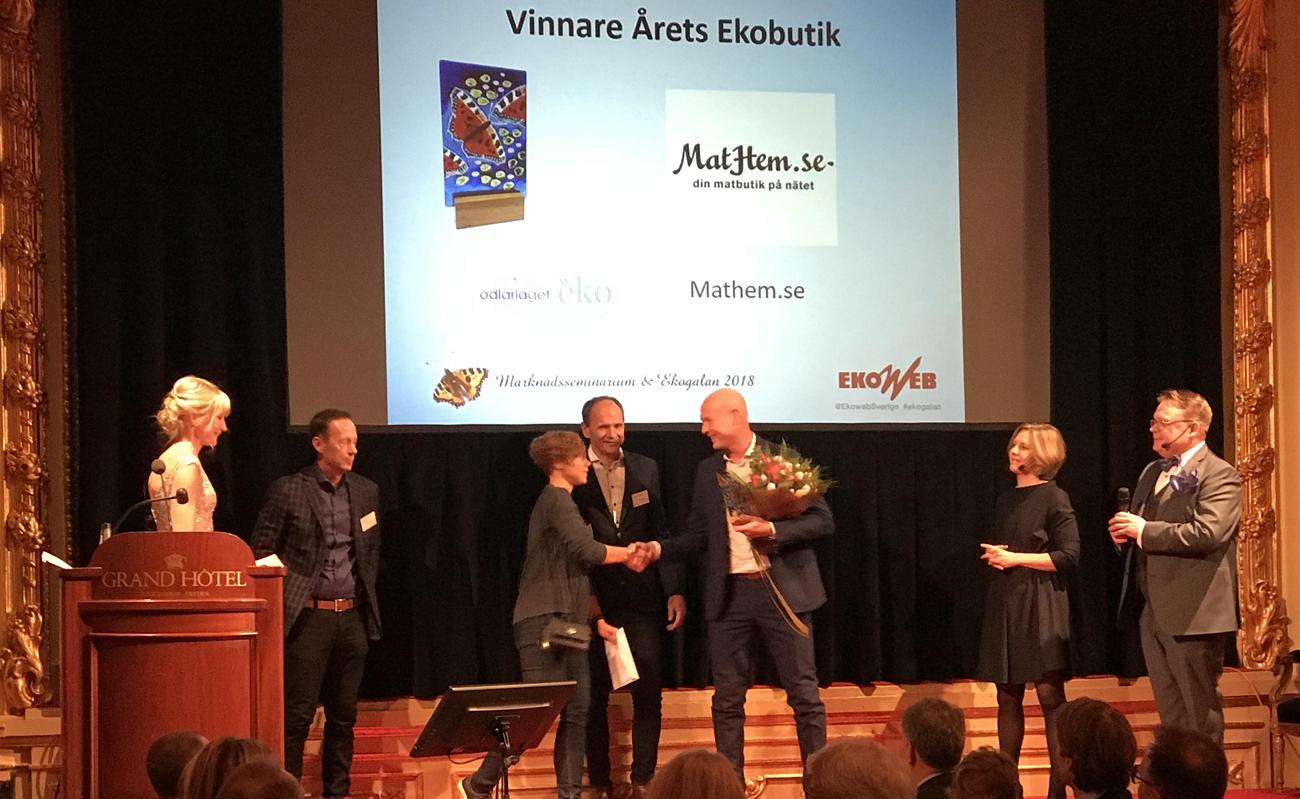 MatHem tog hem priset Årets Ekobutik 2018