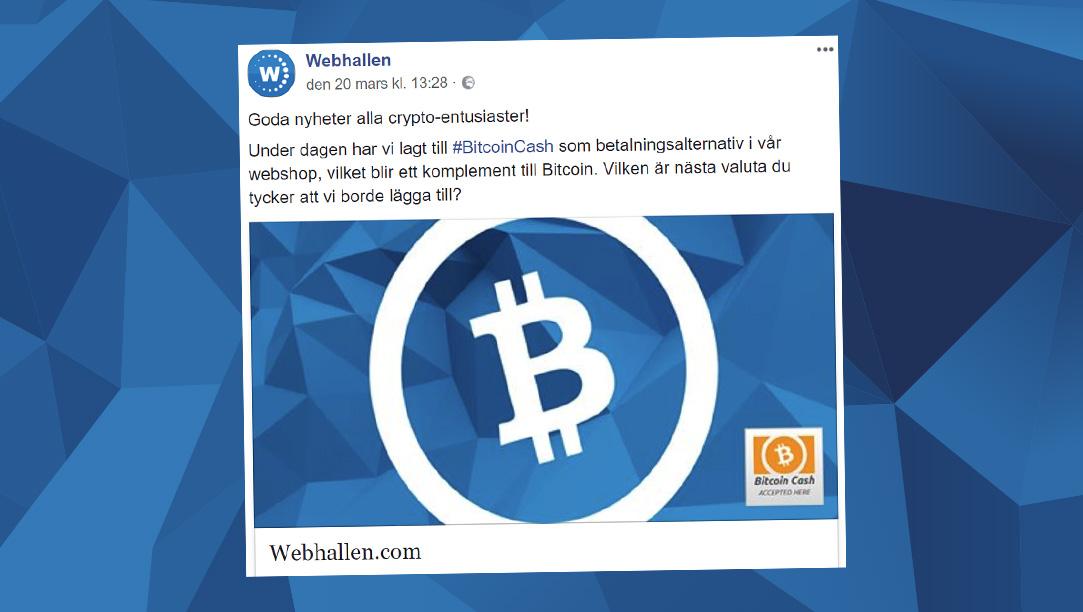 Webhallen utökar sin satsning på kryptovalutor