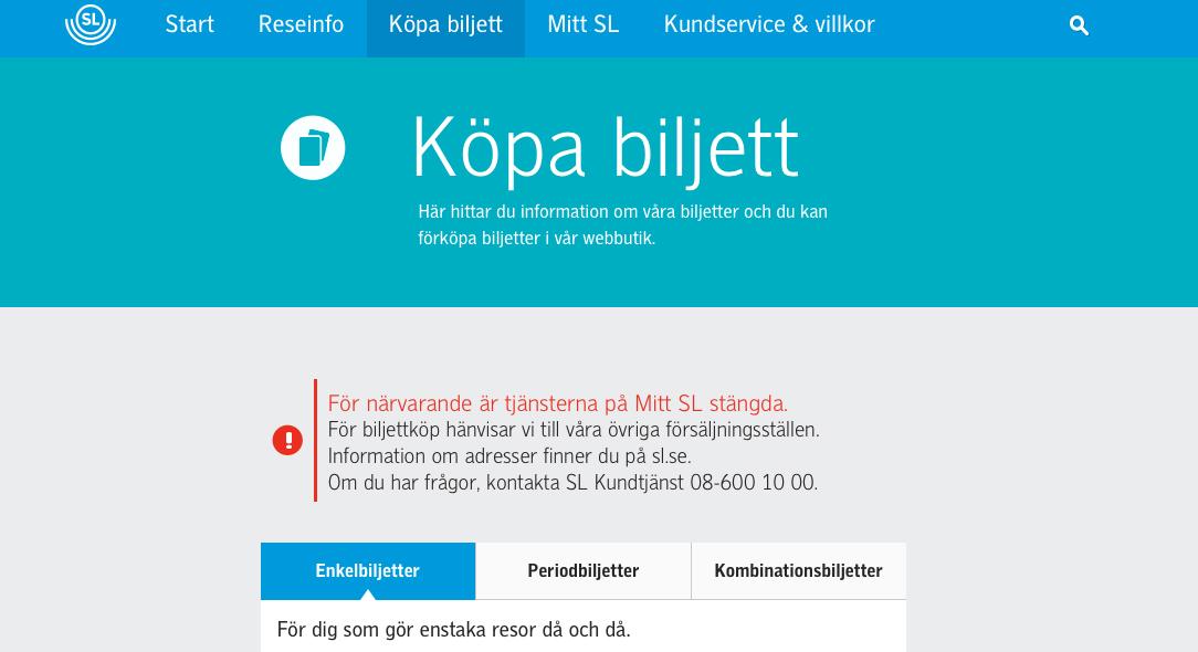 SL stänger sin e-handel efter tekniska problem