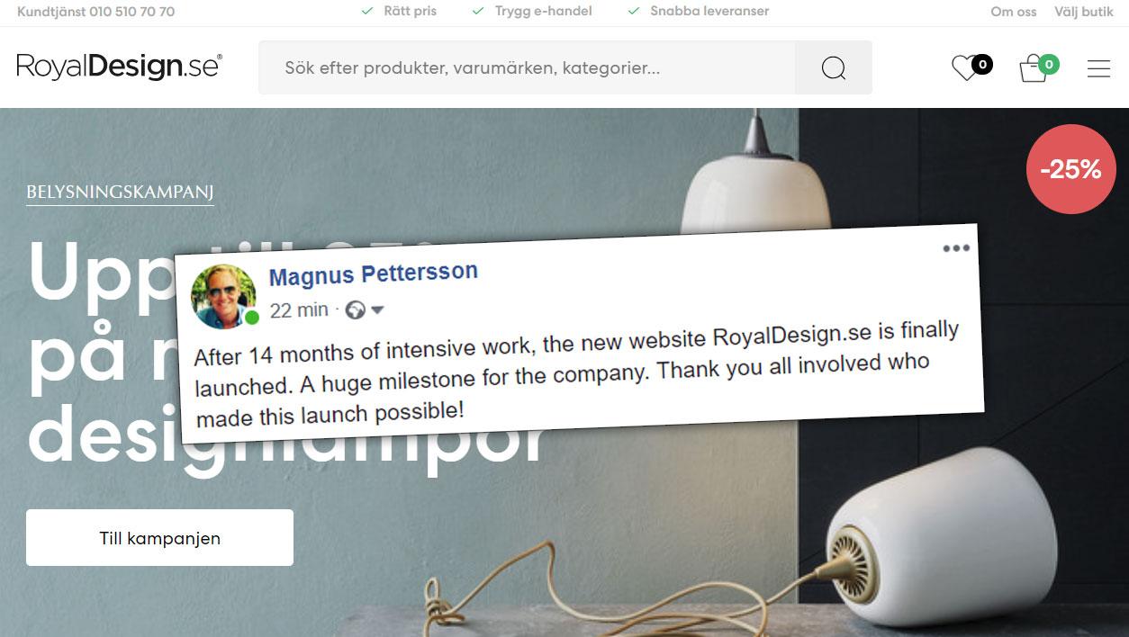 RoyalDesign slår upp portarna till ny supermodern sajt
