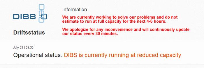 Betalleverantören DIBS har allvarliga driftstörningar