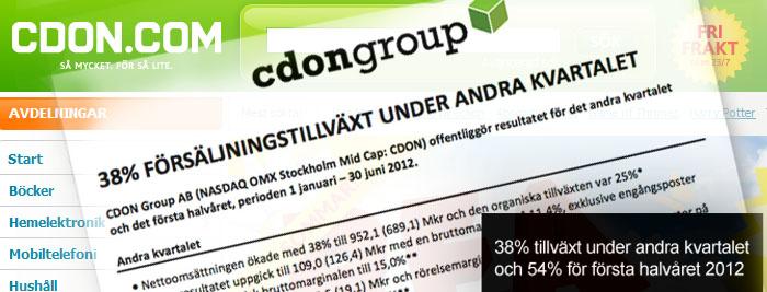 CDON Group visar fortsatt försäljningstillväxt