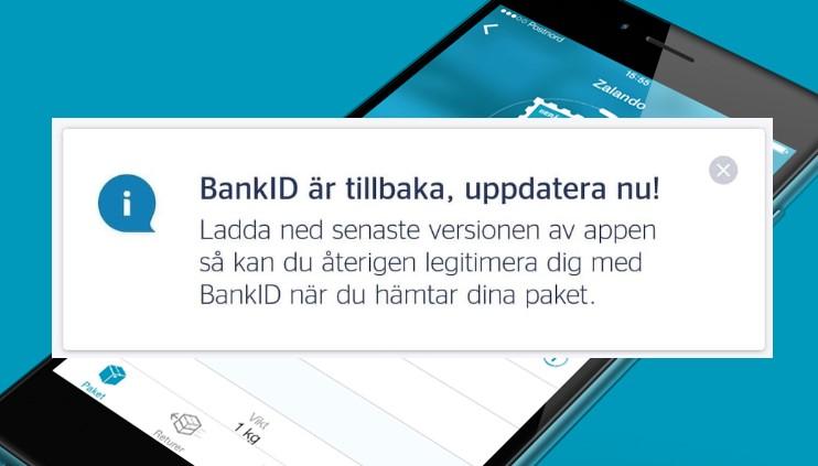 BankID-funktionen tillbaka i PostNords app