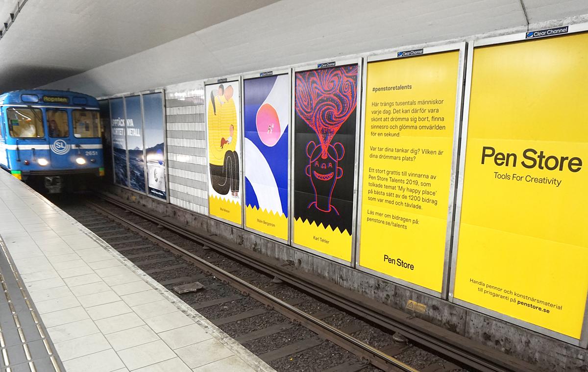 Köpte 120 reklamplatser - hänger upp kundernas konst