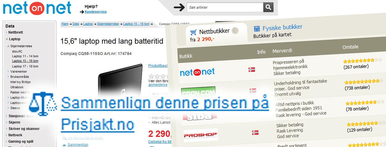 NetOnNet länkar direkt till Prisjakt för jämförelser
