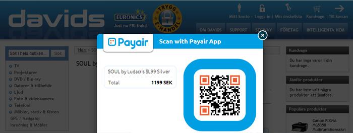 Payair fortsätter trycka in QR-koder i E-handeln