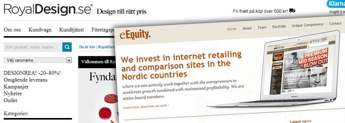 Nätbutiken RoyalDesign tar in kapital av eEquity