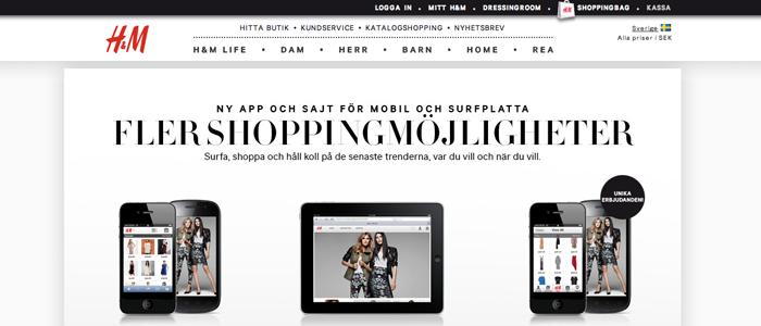 H&M lanserar M-handel för mobiler och surfplattor