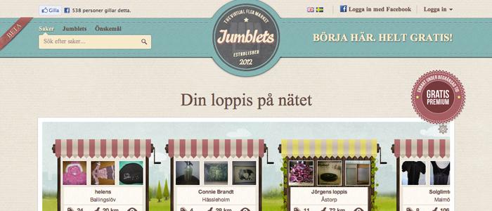 Jumblets - En virtuell Loppis med kompispriser