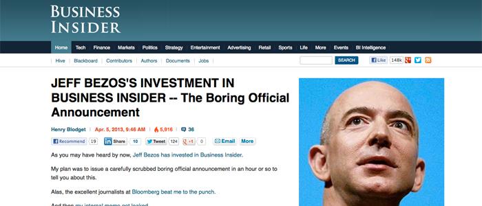 Amazons Jeff Bezos investerar i nyhetssajt