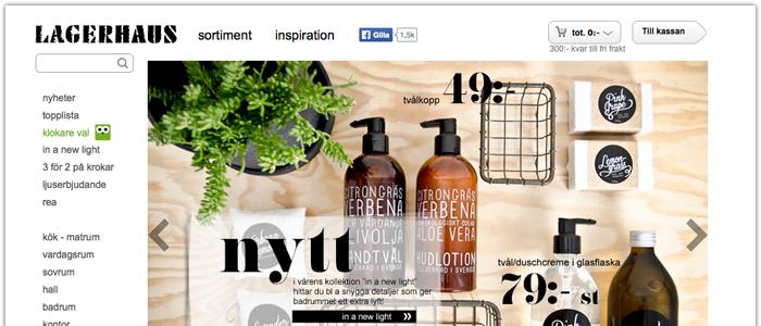Lagerhaus E-handel ökade med 59 procent 2013