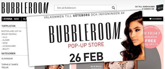 Bubbleroom satsar vidare på temporära butiker