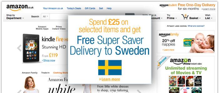 Amazon slopar fri frakt till Sverige och andra länder
