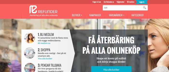 Cashback-sajten Refunder lanseras på bred front