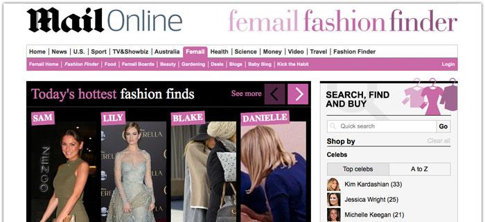 Daily Mails E-handel skor sig på kändisarnas kläder