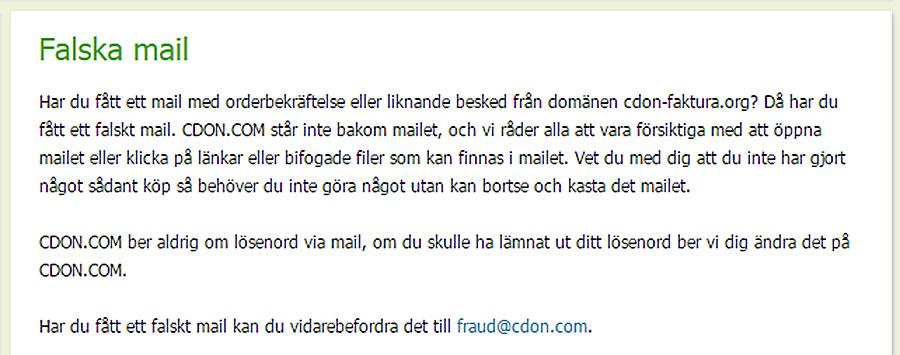 Polisen varnar för falska mail från CDON (uppdaterad)