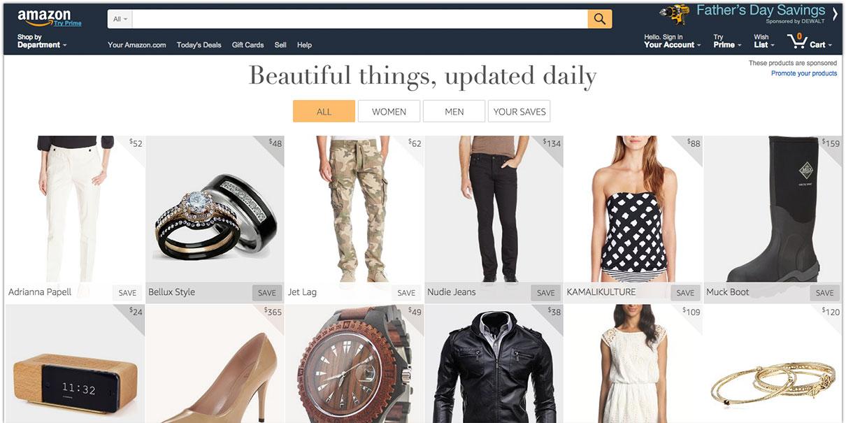 Amazon ger shoppingtips på Pinterest-liknande vis