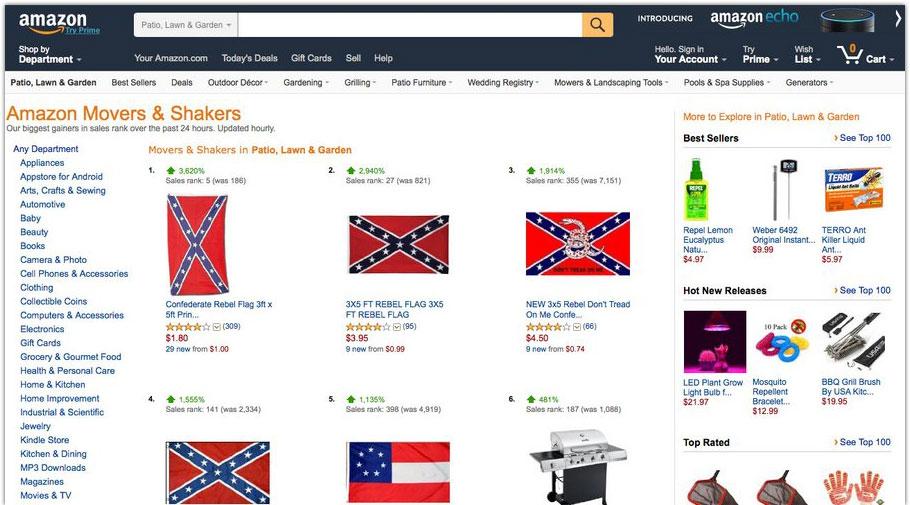 Amazon, Ebay och Google rensar ut sydstatsflaggan