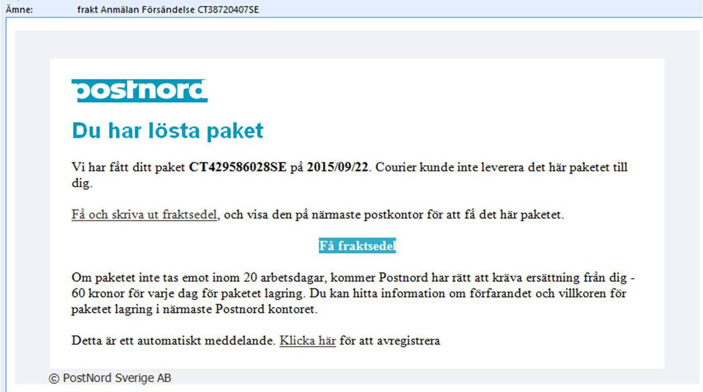 PostNord varnar för nya bluffmail i deras namn