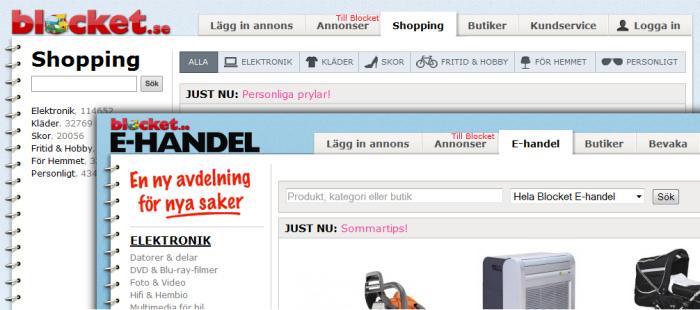Blocket E-handel blir Blocket Shopping