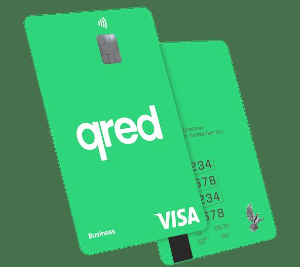 Qred kreditkort i grönt i vinkel